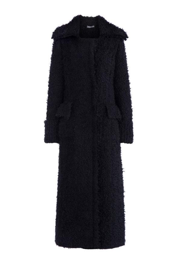Пальто из мохера и шерсти черного цвета с ворсистой поверхностью ALEXANDER MCQUEEN Италия