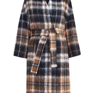 Пальто-халат из шерсти альпака с клетчатым узором BRUNELLO CUCINELLI Италия