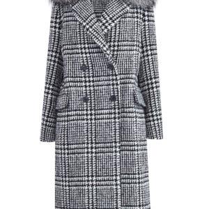 Двубортное шерстяное пальто с воротом из меха чернобурой лисы ERMANNO SCERVINO Италия