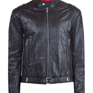 Байкерская куртка из жатой кожи с лампасами по бокам GUCCI Италия