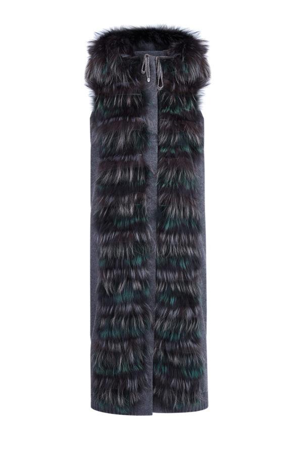Удлиненный трикотажный жилет с капюшоном и деталями из лисьего меха LORENA ANTONIAZZI Италия