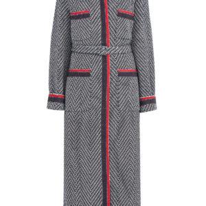 Пальто из фактурной шерсти с шевронным узором и лентой Web GUCCI Италия