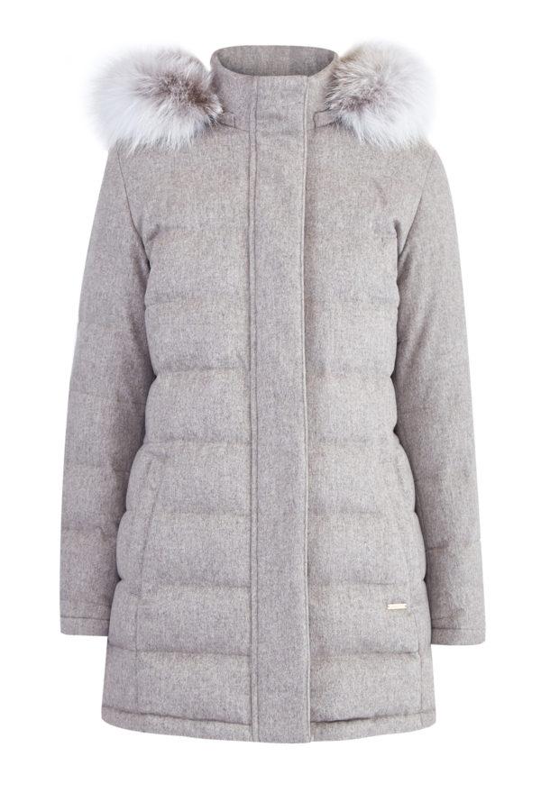 Пуховое пальто из кашемира от Loro Piana с отделкой из меха лисы ENRICO MANDELLI Италия