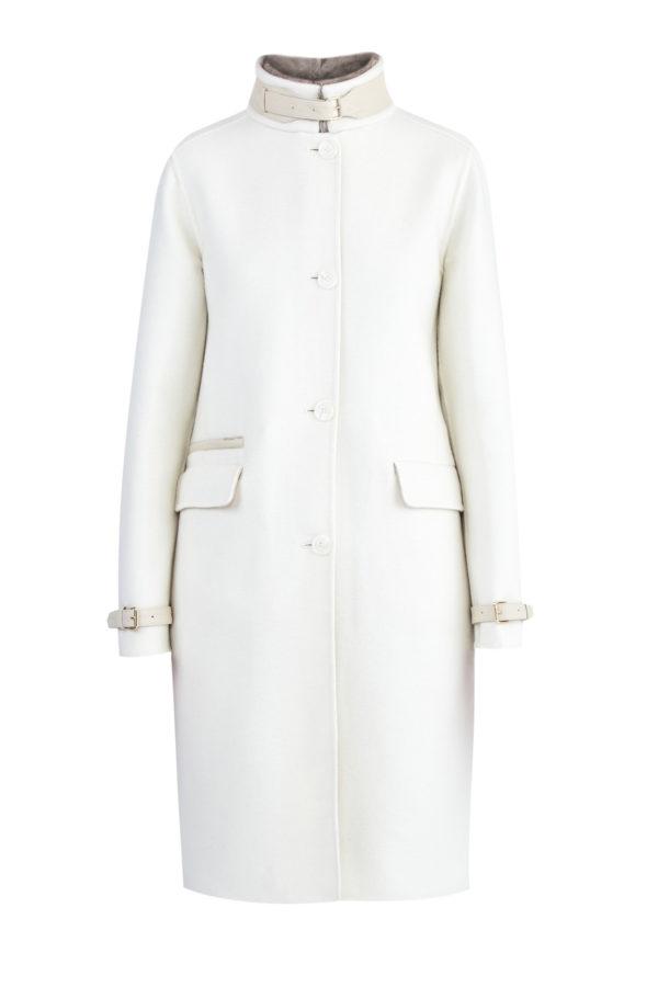Пальто из кашемира от Loro Piana с деталями из кожи и меха норки ENRICO MANDELLI Италия