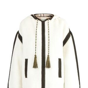 Короткое пальто из шерсти альпаки с контрастной отделкой швов ETRO Италия
