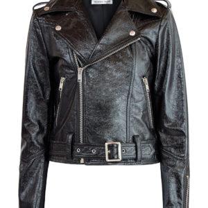 Кожаная куртка в байкерском стиле из лаковой кожи с эффектом кракле ALEXANDER TEREKHOV Россия