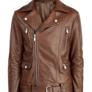 Байкерская куртка из кожи наппа с массивными молниями и ремнем ELEVENTY Италия