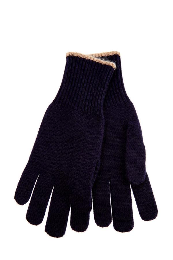 Синие перчатки из кашемира сконтрастной окантовкой BRUNELLO CUCINELLI Италия