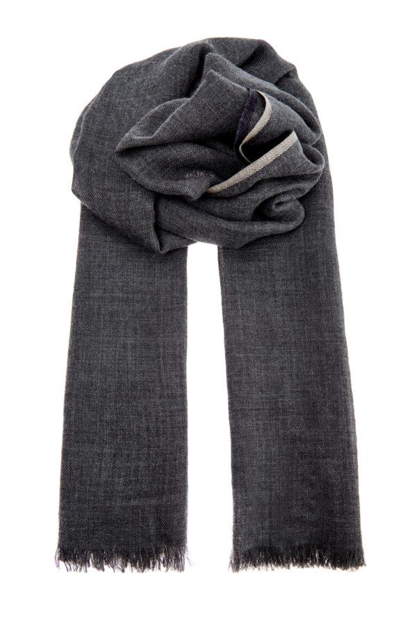 Кашемировый шарф с контрастной окантовкой BRUNELLO CUCINELLI Италия