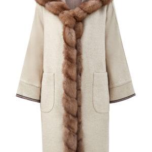 Двустороннее пальто из ткани Loro Piana с мехом куницы GIULIANA TESO Италия