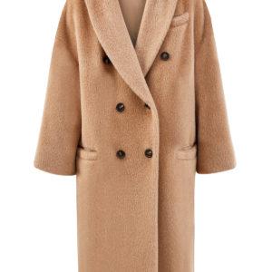 Двубортное пальто из шерсти альпака с фактурой меха BRUNELLO CUCINELLI Италия