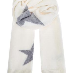 Белый шарф изтонкой кашемировой пряжи сузором втехнике интарсии LORENA ANTONIAZZI Италия