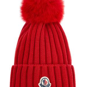 Яркая шапка из фактурной шерсти Virgin с широким отворотом MONCLER Италия