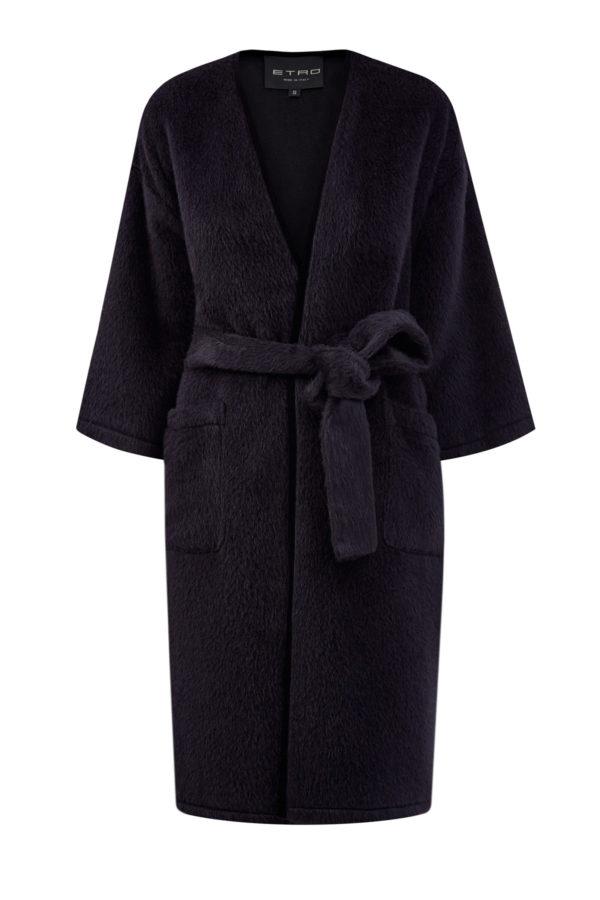Черное пальто из шерсти альпака с рукавами ¾ и поясом ETRO Италия