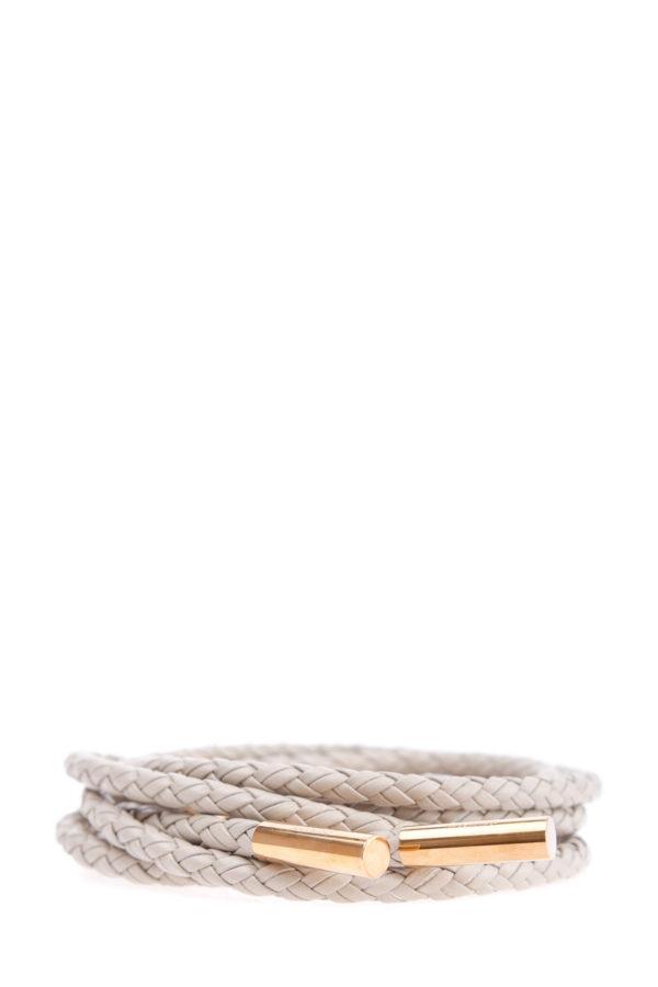 Тонкий пояс из плетенных кожаных шнурков с металлическими деталями AGNONA Италия