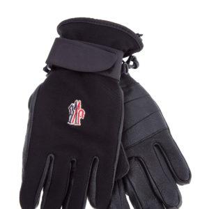 Перчатки для зимних видов спорта из кожи и нейлона MONCLER Италия