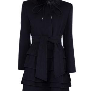 Пальто из шерсти ангоры с многослойным подолом и воротом-стойкой ERMANNO SCERVINO Италия