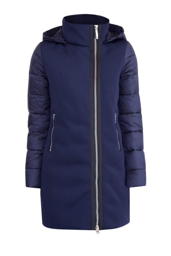 Удлиненная стеганная куртка с трикотажными влагостойкими вставками CUDGI Италия