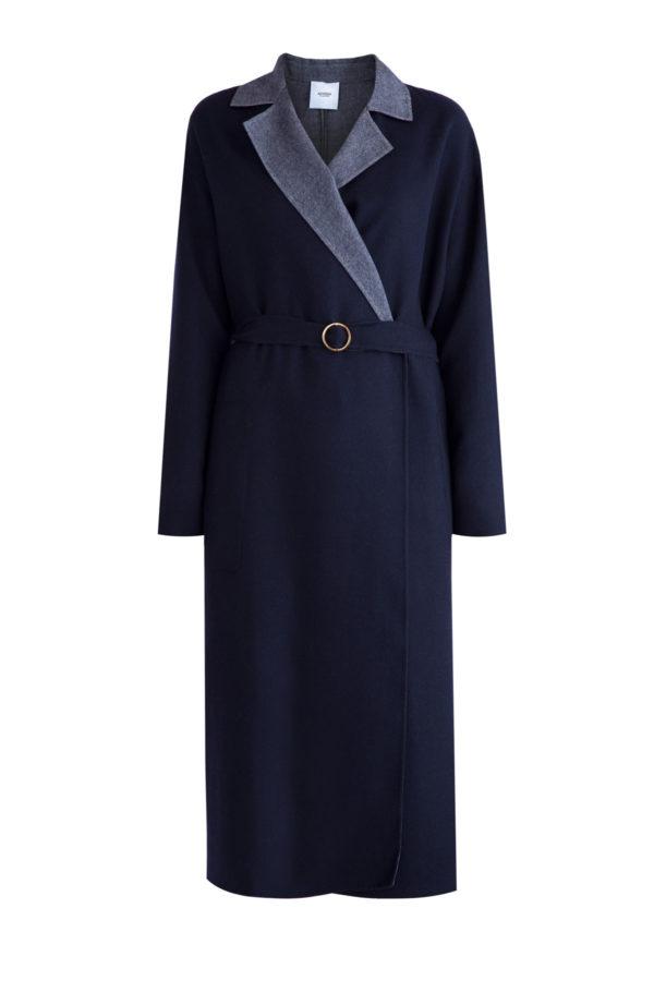 Пальто из кашемира с дополнительным внутренним слоем и поясом на талии AGNONA Италия