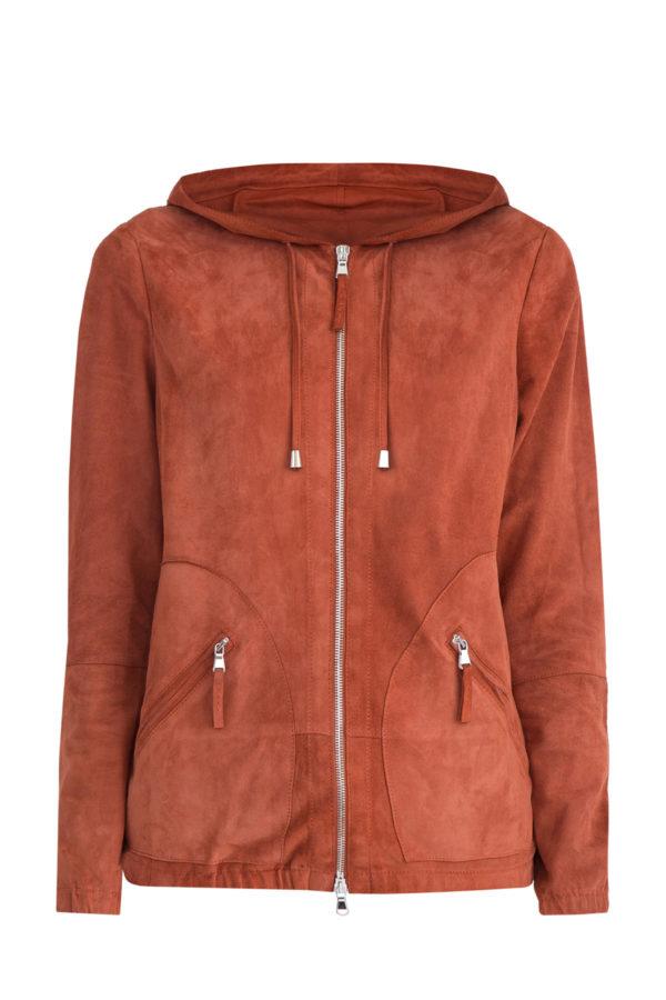Куртка из замши терракотового цвета с капюшоном и застежкой-молнией ELEVENTY Италия