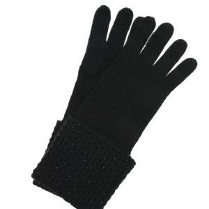 Черные перчатки из кашемира с кристаллами Swarovski William Sharp