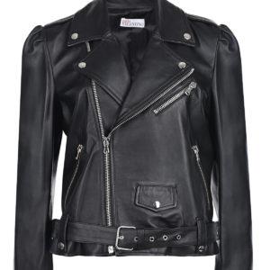 Черная кожаная куртка на молнии Red Valentino