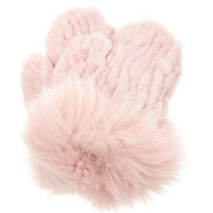 Розовые вязаные варежки из меха Yves Salomon
