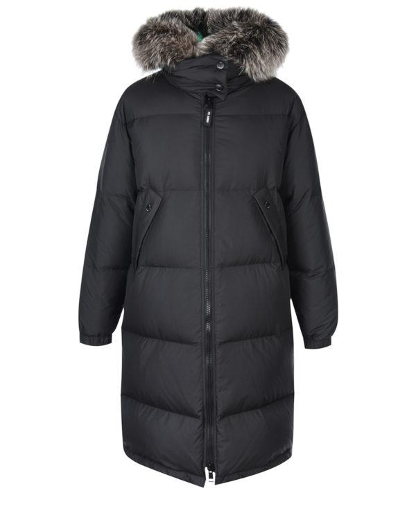 Черное пальто в комплекте с курткой Yves Salomon