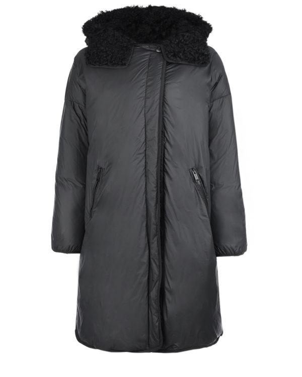 Черное пальто с отделкой из овчины Yves Salomon