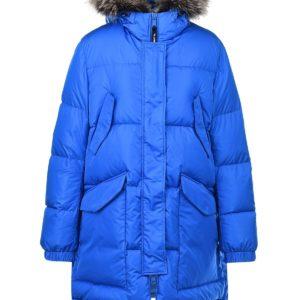 Синяя куртка-пуховик с меховой отделкой Yves Salomon