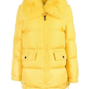 Желтая куртка с меховой отделкой Yves Salomon