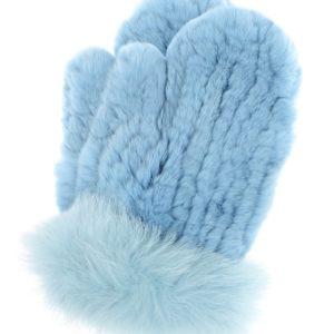 Голубые вязаные варежки из меха Yves Salomon