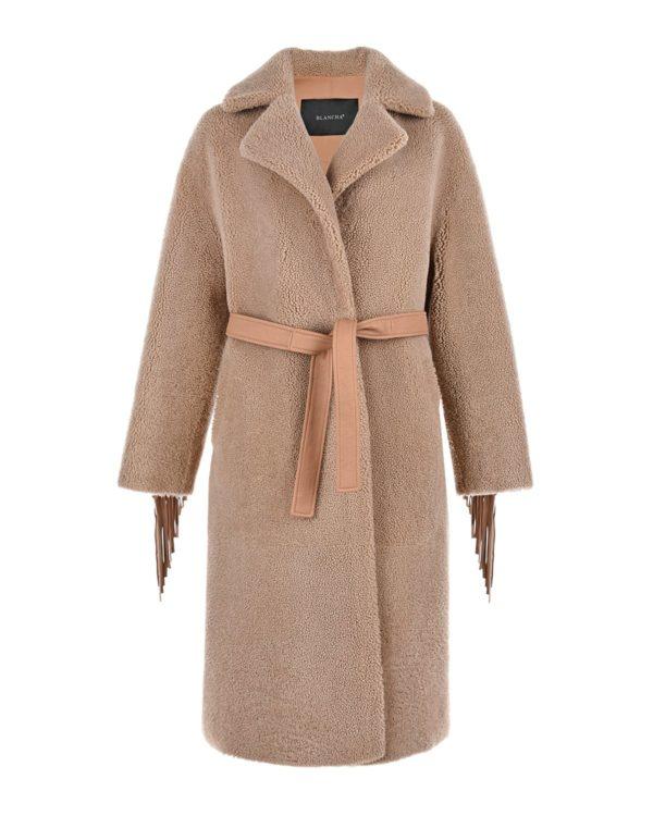 Бежевое пальто из овчины Blancha