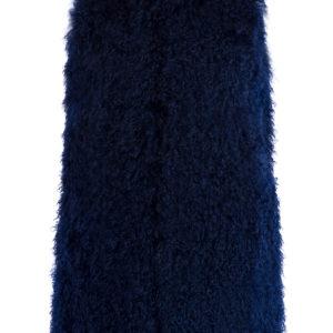 Двусторонний жилет из овчины с длинным ворсом тёмно-синего цвета ETRO Италия