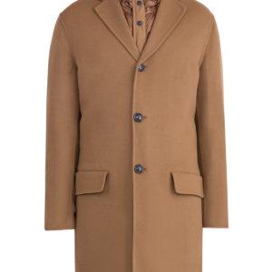 Шерстяное пальто 2 в 1 с пуховой стеганой курткой MONCLER Италия