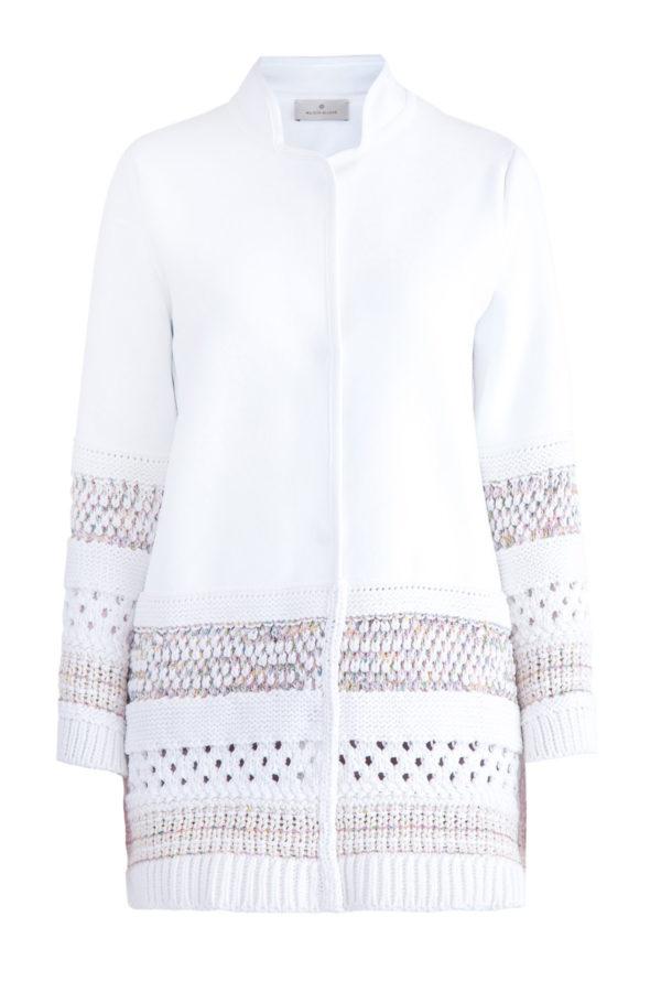 Укороченное пальто с деталями ажурной вязки на спинке и кромках MAISON ULLENS Франция