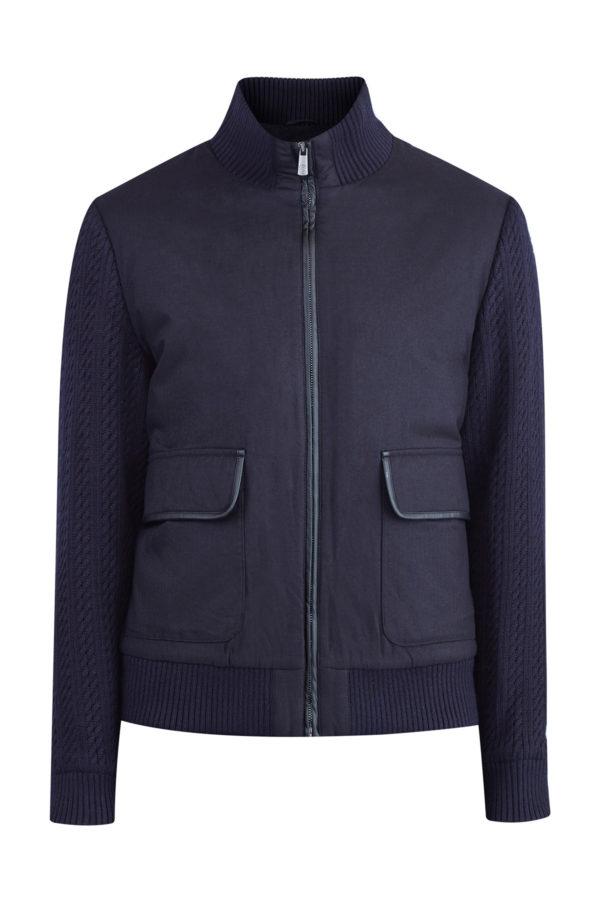 Куртка из саржи с узором «шеврон» и отделкой из кожи CUDGI Италия