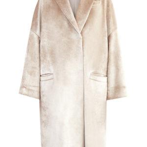 Пальто кроя oversize холодного бежевого оттенка из бархатной ткани Scuba BRUNELLO CUCINELLI Италия