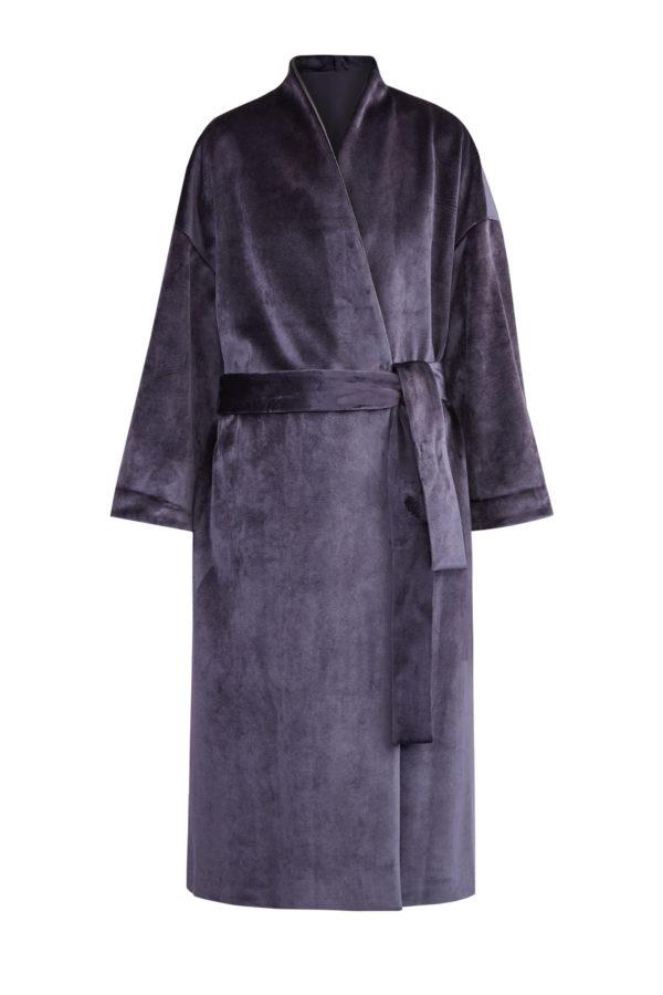 Бархатное пальто с шалевым воротником и поясом BRUNELLO CUCINELLI Италия