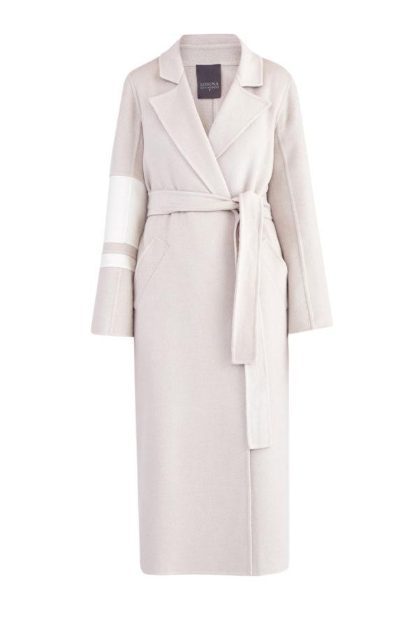 Кашемировое пальто с поясом и асимметричными полосами на рукаве LORENA ANTONIAZZI Италия