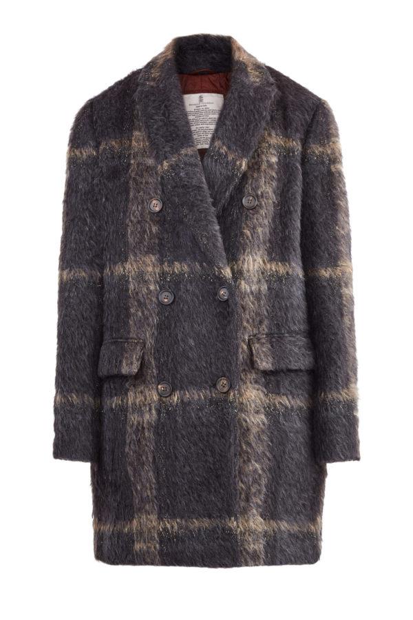 Oversize пальто из ткани Sparkling с металлизированной нитью BRUNELLO CUCINELLI Италия