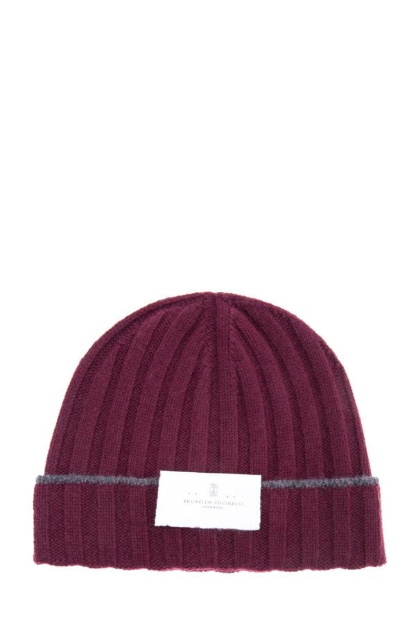 Теплая шапка из шерсти с контрастной полосой на отвороте BRUNELLO CUCINELLI Италия