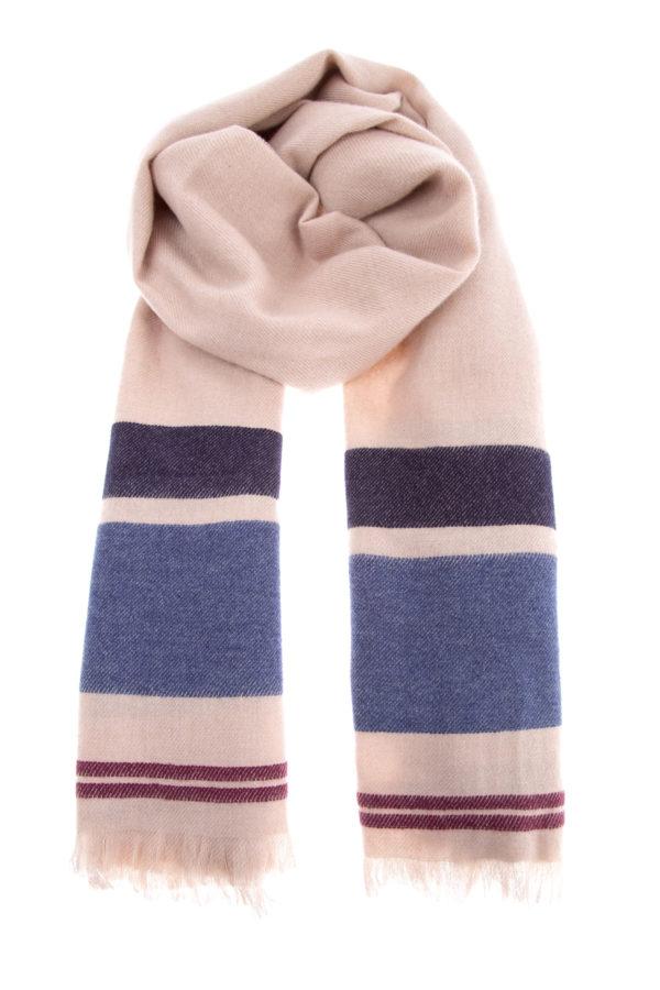 Мужской шарф из мягкого кашемирового твила с полосатым узором BRUNELLO CUCINELLI Италия