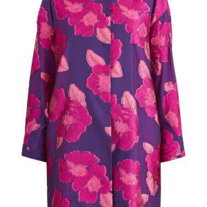 Яркое пальто с жаккардовой цветочной вышивкой и потайной застежкой EMANUEL UNGARO Франция